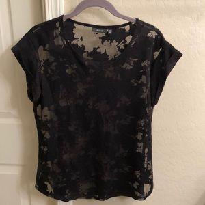 Scoop neck floral sheer printed shirt
